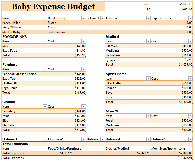 Baby Expense Budget Template