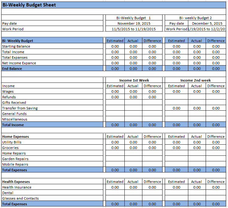 It is a photo of Invaluable Bi Weekly Budget Worksheet Printable