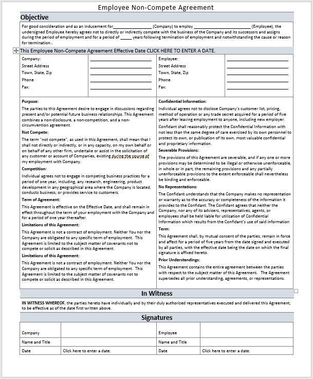 Employee Non-Compete Agreement Template