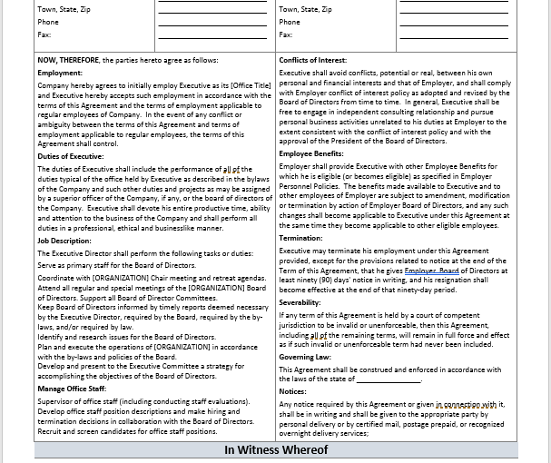 Employment Agreement   Free Legal Form