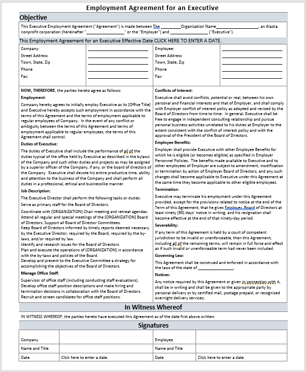 Executive Employment Agreement Template