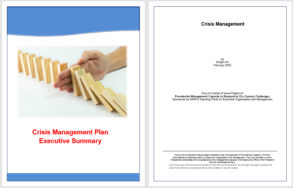 Executive Summary for Crisis Management Template