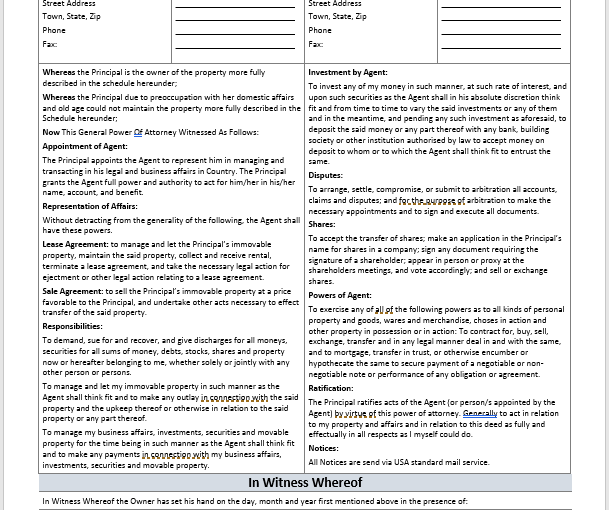 General Power of Attorney Agreement Template