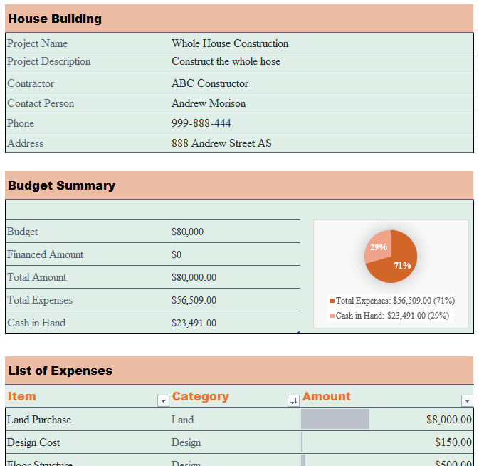 House Building Budget Template Ms Office Documents