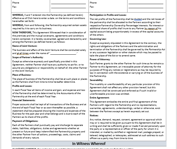 Joint Venture Agreement Template