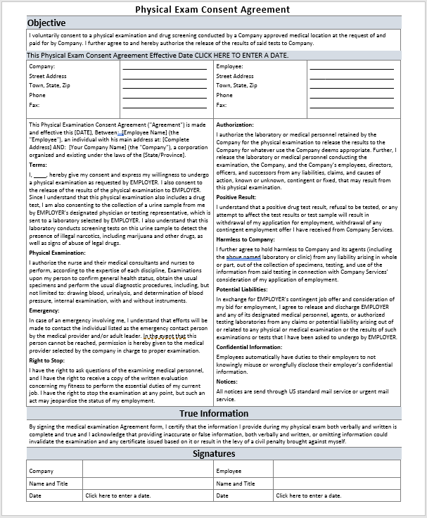 Physical Exam Consent Agreement Template