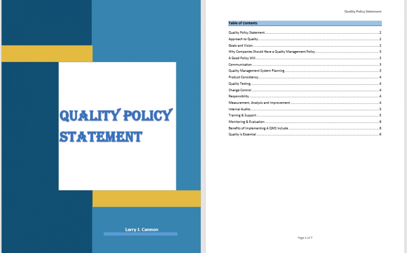 Quality Policy Statement Template