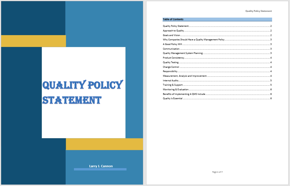 18  free quality policy statement templates