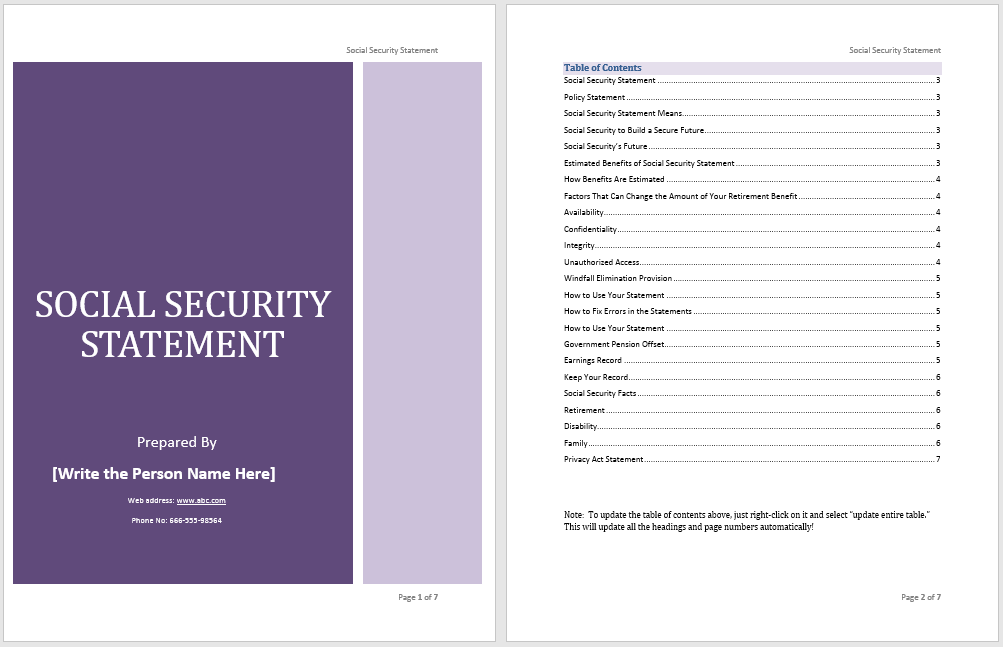 Social Security Statement Template