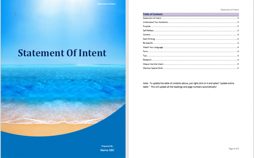 Statement of Intent Template