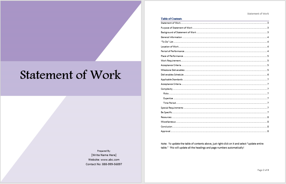 Statement Of Work Template Ms Office Documents