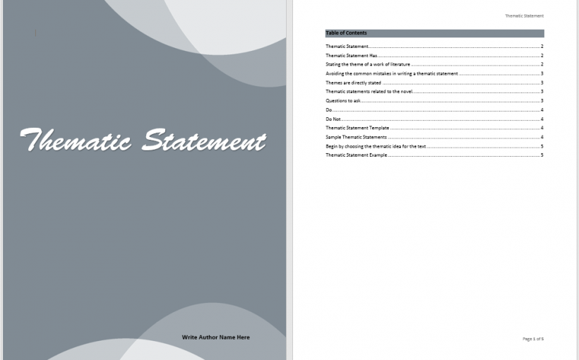 Thematic Statement Template