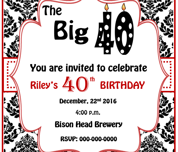 40th birthday invitation template