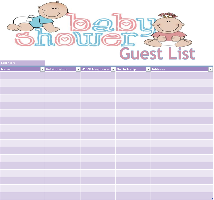 17  free baby shower guest list templates