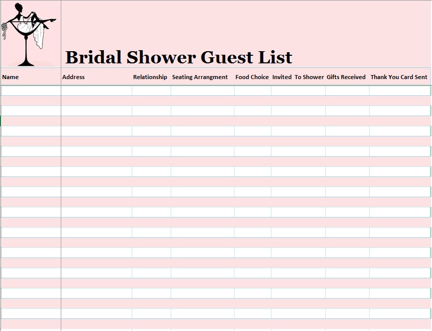 15 free bridal shower guest list templates ms office for Wedding shower gift list template