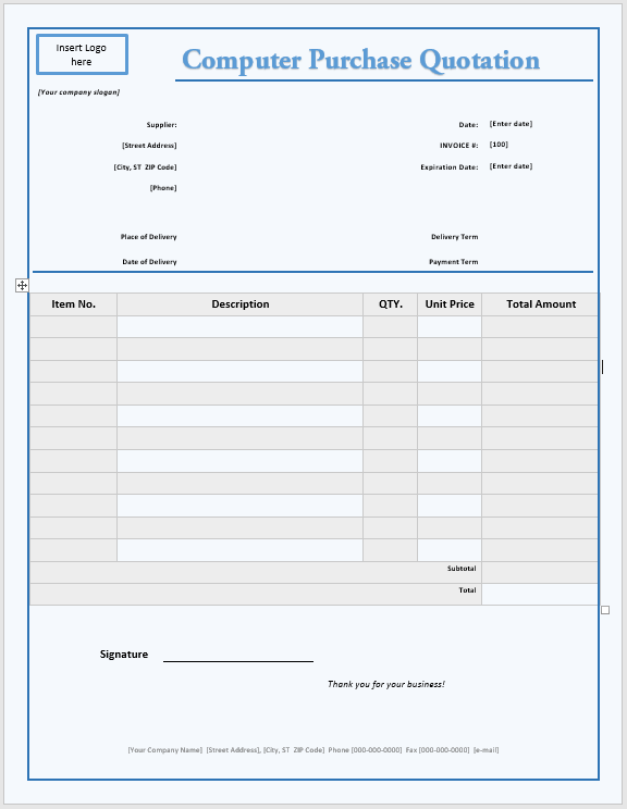 Computer Purchase Quotation Template