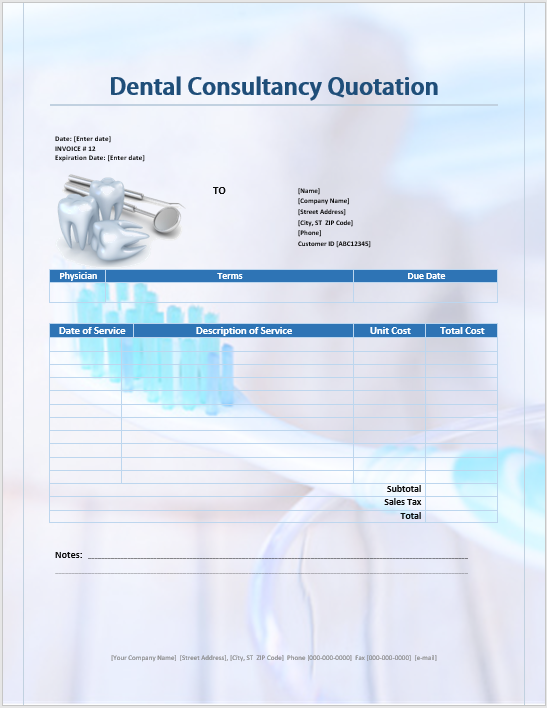 Dental Consultancy Quotation Template