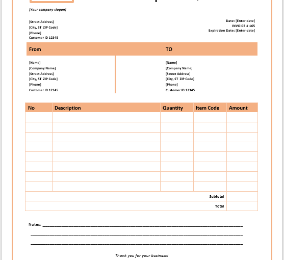 Goods Export Quotation Template