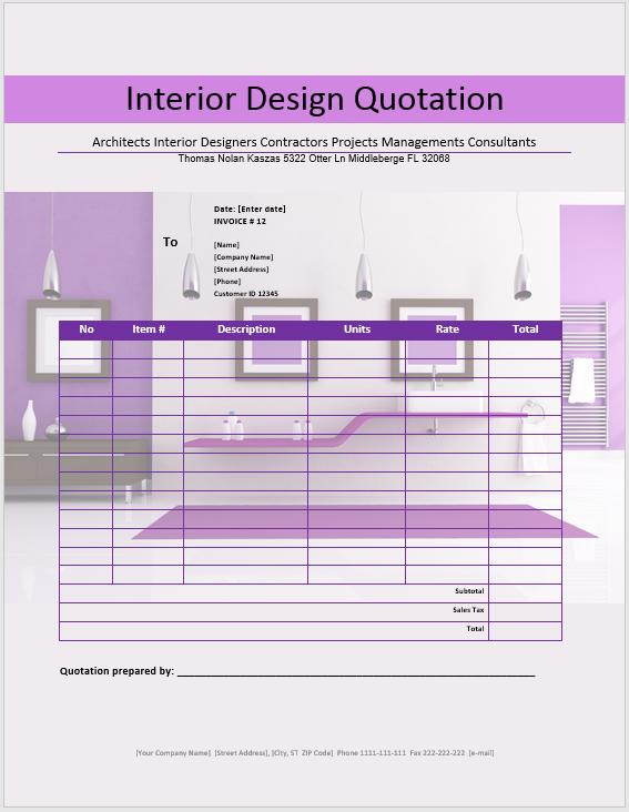 19+ Free Interior Design Quotation Templates - MS Office ...