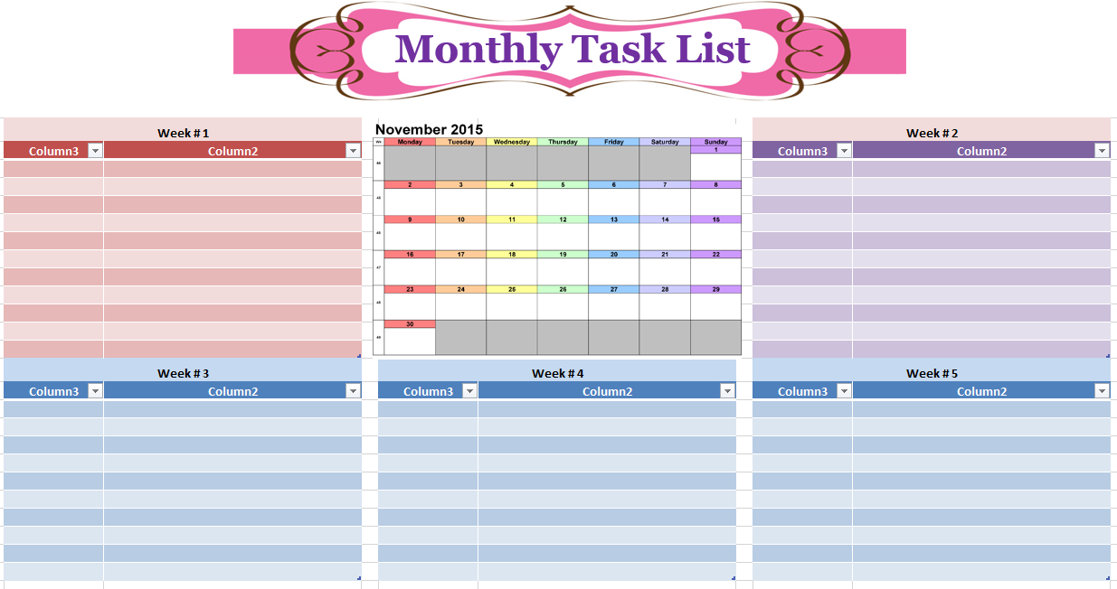 17 free monthly to do list templates ms office documents for Monthly task list template excel