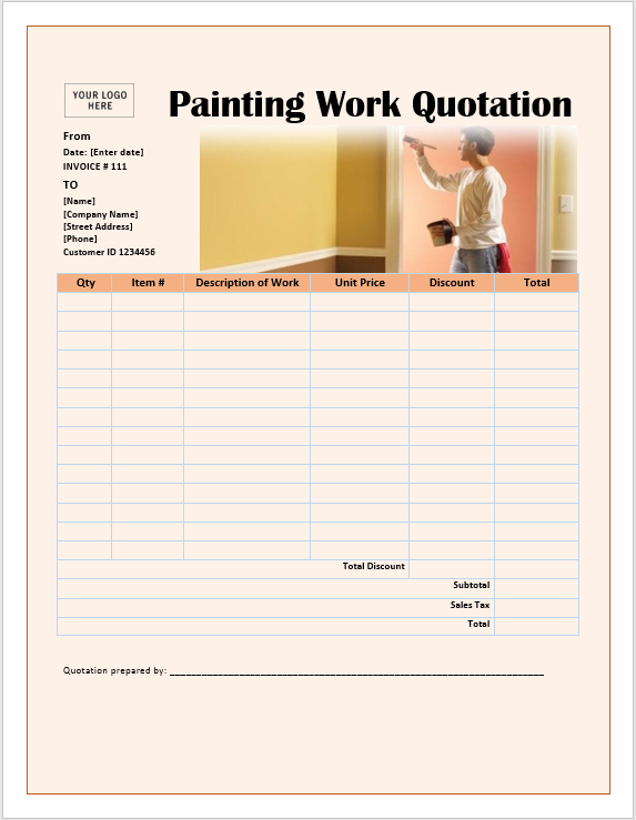 Painting work quotation template ms office documents for Painting quotes templates