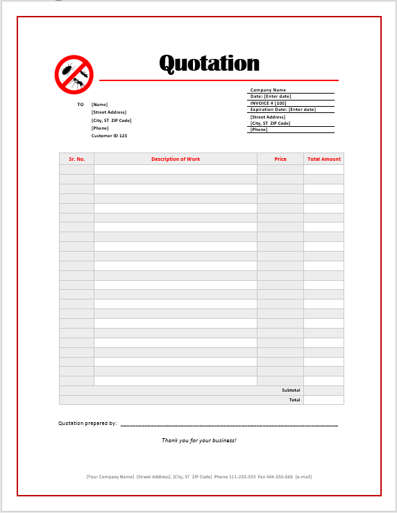 pest management plan template - pest control quotation template ms office documents