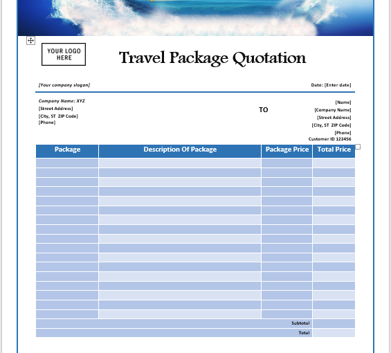 Travel Package Quotation Template