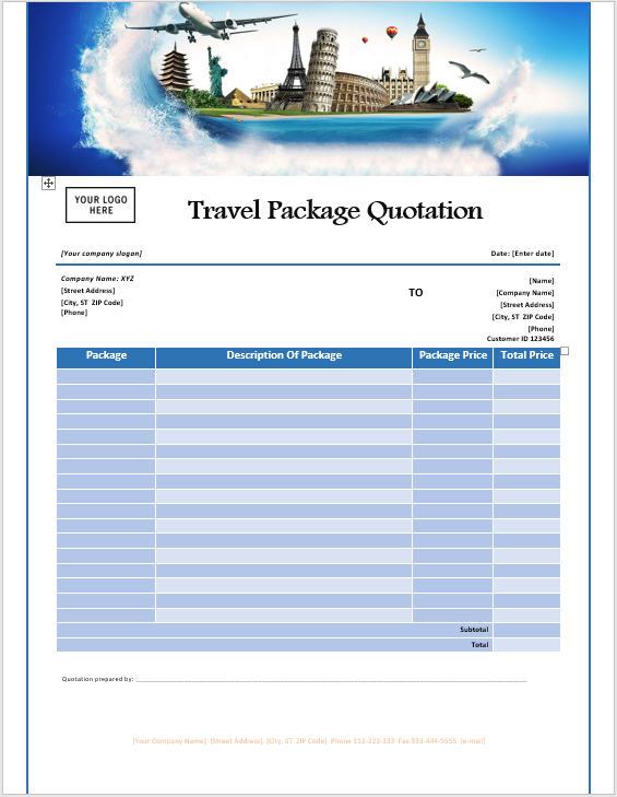 16 Free Travel Service Quotation Templates Ms Office