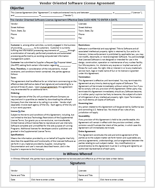 Vendor Oriented Software-License Agreement Template