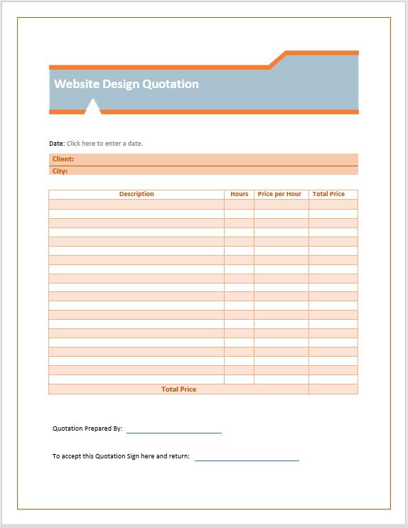 Website Design Quotation Template