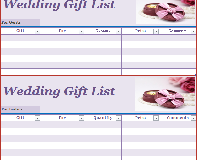 Wedding Gift List Template