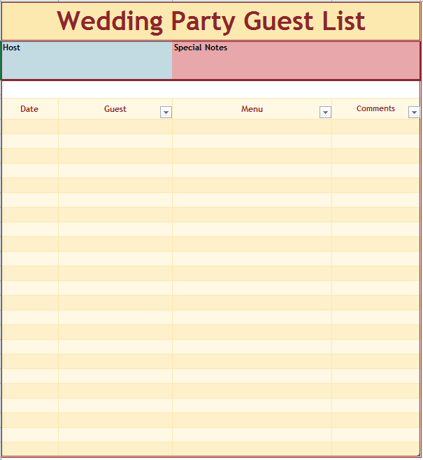 21 free wedding party guest list templates ms office documents. Black Bedroom Furniture Sets. Home Design Ideas