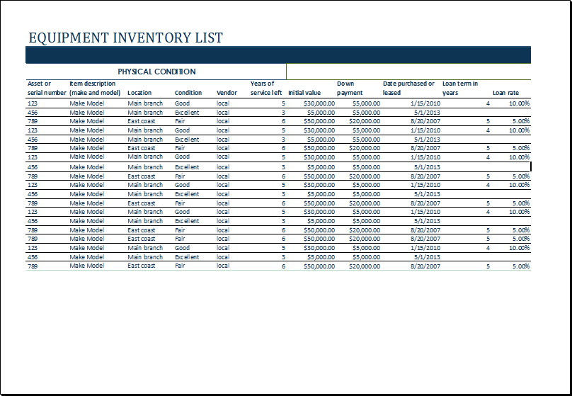 20 free equipment inventory list templates ms office. Black Bedroom Furniture Sets. Home Design Ideas