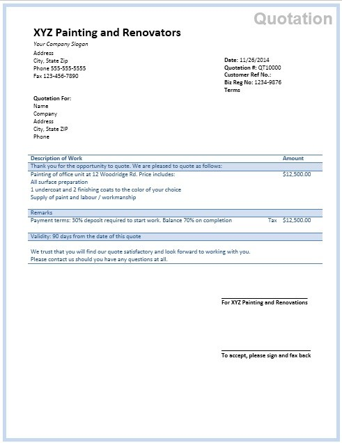 Painting Quotation Template 15 Ms Office Documents