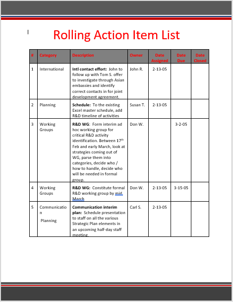 Rolling Action Item List Template 01