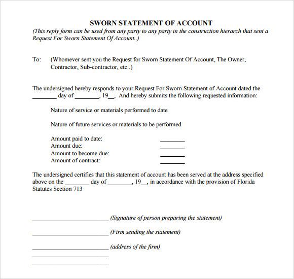 Sworn Statement Sample Letter from www.msofficedocs.com