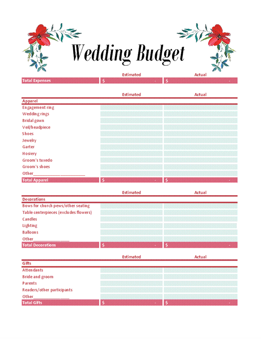 19 Free Wedding Budget Templates Ms Office Documents