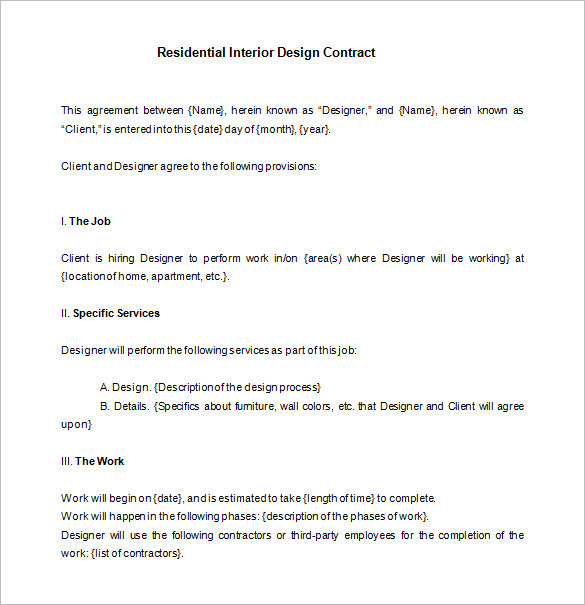 interior design schedule of work template letter