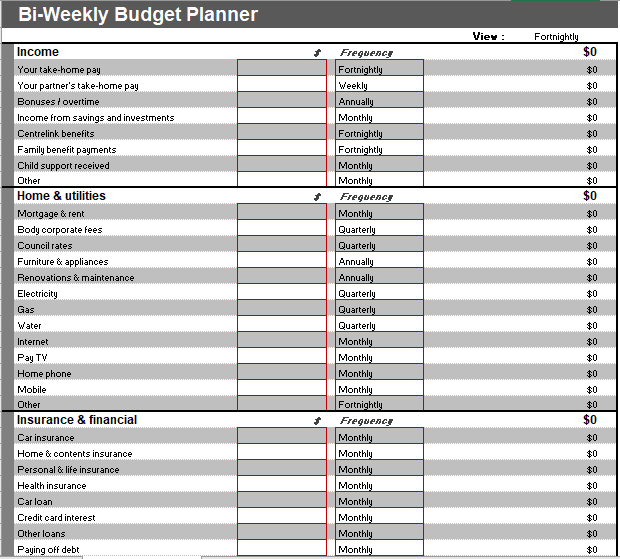 Bi-Weekly Budget Template 06