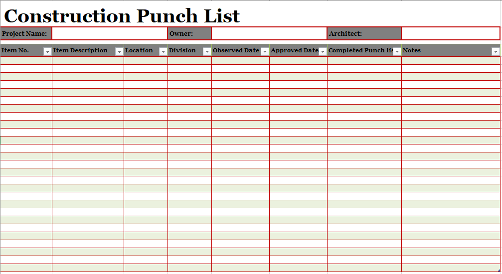16 Free Construction Punch List Templates Ms Office Documents