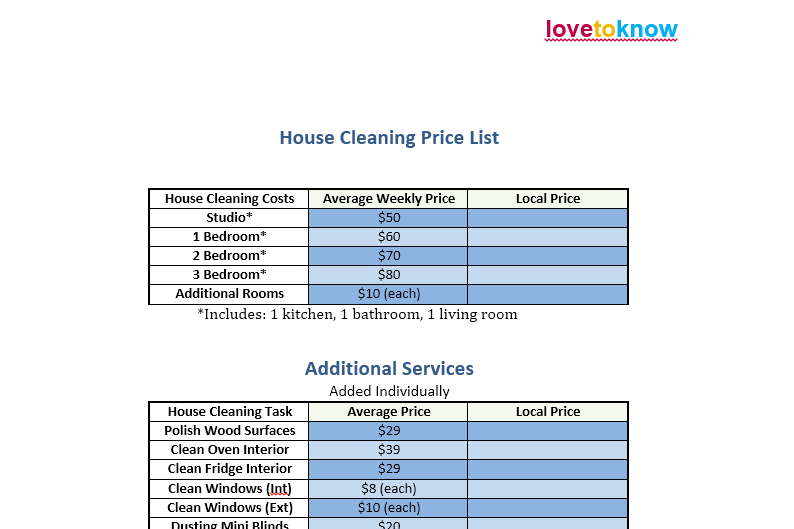 price list template 01