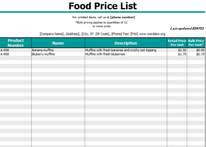 price list template 03