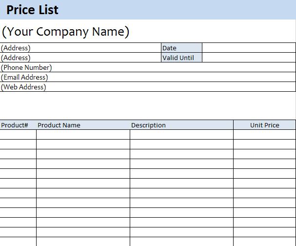 price list template 14