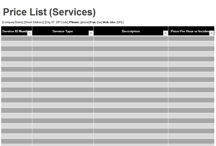 price list template 15
