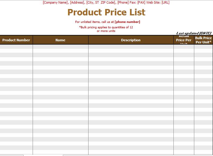 price list template 17