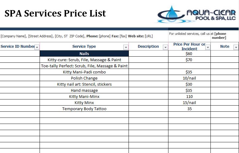 price list template 22