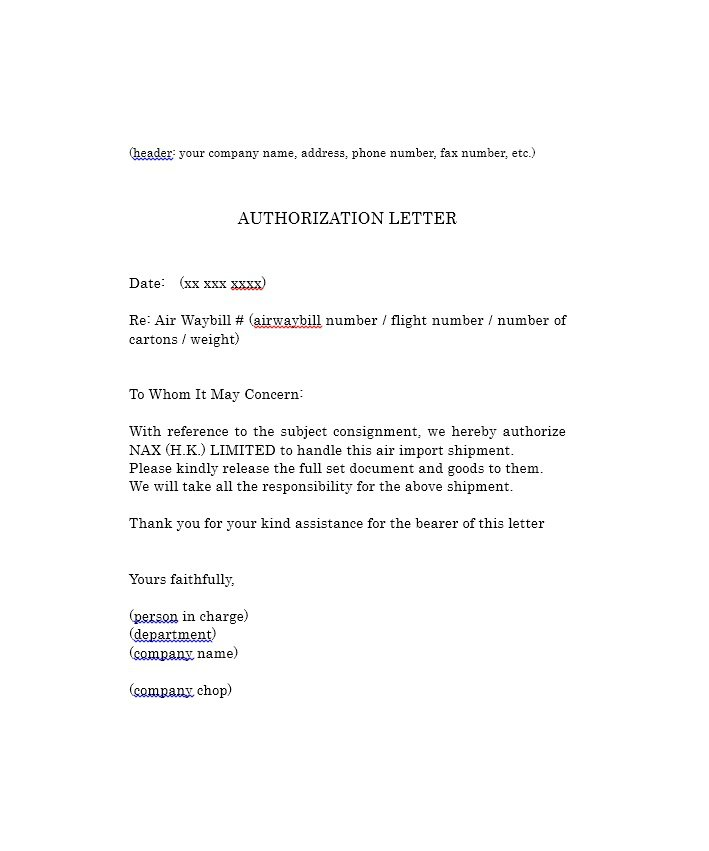 Sample Authorization Letter 14