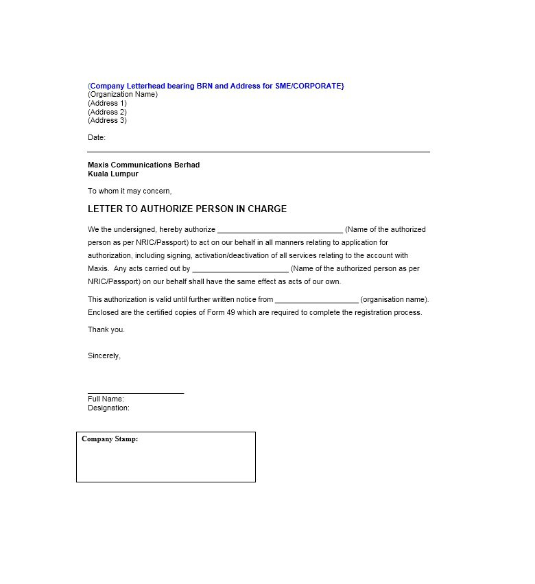 Sample Authorization Letter 19