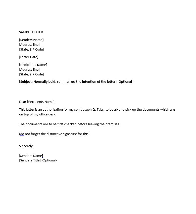 Sample Authorization Letter 30