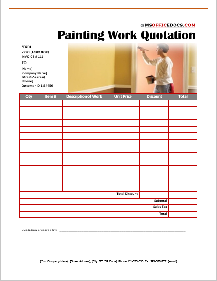Painting Work Quotation Template